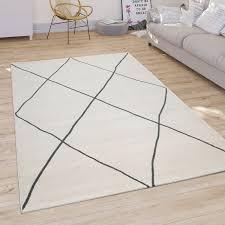 teppich wohnzimmer modernes skandi rauten muster weiß