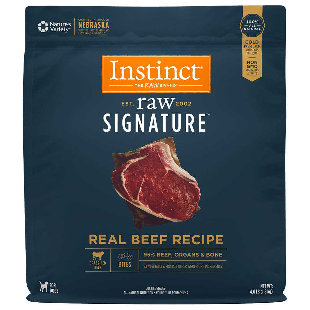 Instinct by Nature's Variety Raw Signature Frozen Beef Recipe Bites | Dog Food 4 lbs