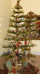 A 4 Ft Two Toned Feather Tree Displays My Collection Of Vintage Clip On Hangingand Nested Glass Bird Ornaments At The Base An Antique German Twig Fence