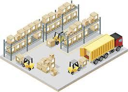 Isometric Storage Room Vector Art Illustration