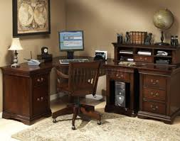 Magellan L Shaped Desk by Desk Burnish Cherry Finish L Shaped Desk With Hutch And Drawer