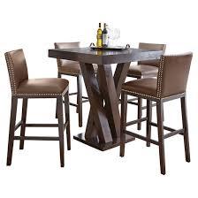 5 piece whitney bar height dining table set wood chocolate steve