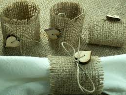 Burlap Wedding Napkin Rings Napkins Rustic Style 6 With Buttons