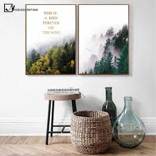 100 Scandinavian Modern Home Nordic Style Forest Landscape Poster Print Motivational