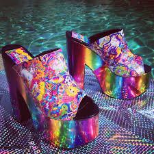 lisa franked rainbow high heel slides custom made great