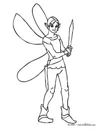 Winter Winged Elf Warrior With A Sword Coloring Page