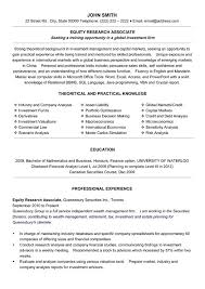 Equity Research Associate Resume Sample Template