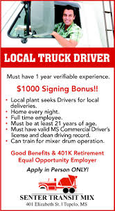 100 Home Daily Truck Driving Jobs Driver Senter Transit Mix Tupelo MS