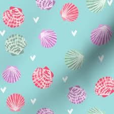 100 Sea Shell Design Fabric By The Yard Seashells Fabric Girls Mermaid Sea Shell Design Pink On Blue