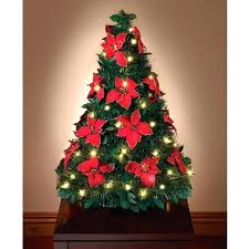 Pull Up Christmas Trees Decorated Lighted Poinsettia The Pop Tabletop Tree With