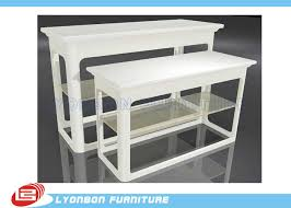 Promotion White MDF Nesting Display Tables For Retail Stores UV Painting