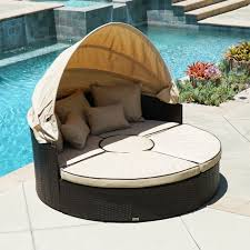 100 Retractable Patio Chairs Outdoor Sofa Furniture Round Canopy Daybed Brown