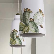 keramik pendelleuchte s1818 mit kaktusmuster
