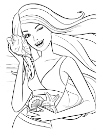 Barbie Sea Shell Coloring Pages