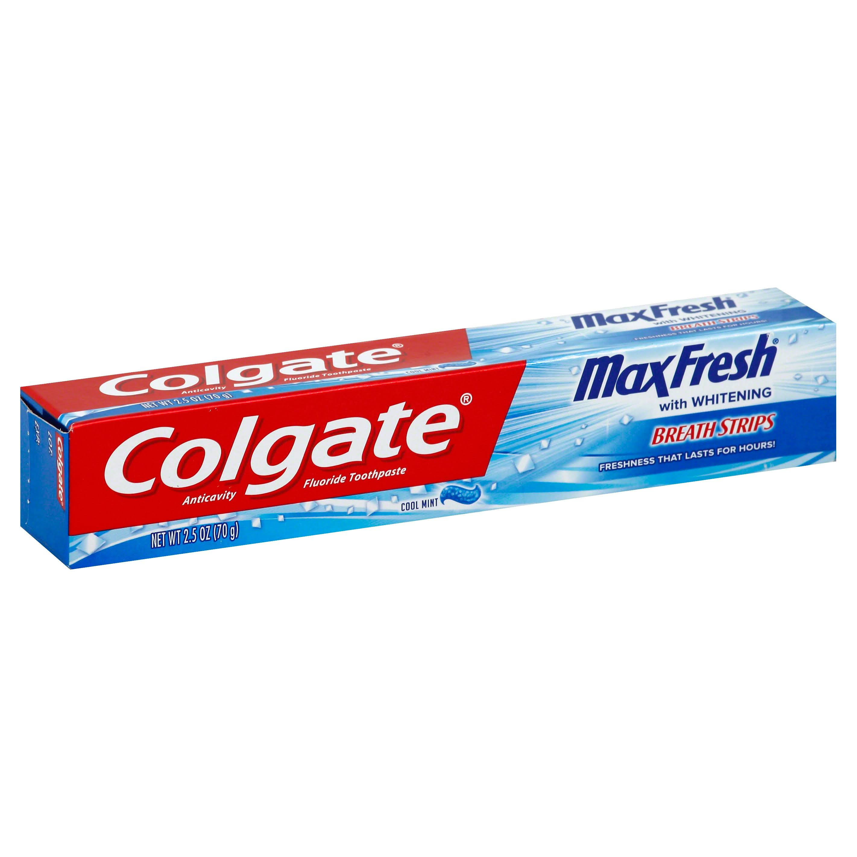 Colgate Maxfresh With Whitening Breath Strips Toothpaste - Cool Mint, 70g