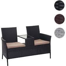 poly rattan sitzbank mit tisch mcw e24 gartenbank sitzgruppe gartensofa 132cm schwarz kissen creme