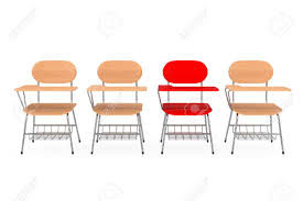 100 College Table And Chairs A Single Red Chair In Row Of Wooden Lecture School Or