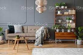 kissen und decke auf beige in grau wohnzimmer interieur mit holztisch und pflanzen echtes foto stockfoto und mehr bilder anrichte