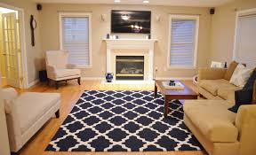 Elegant Blue Area Rugs Tar On Cozy Lowes Wood Flooring With Rustic Coffee Table And