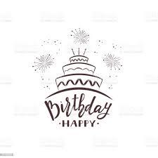 happy birthday text mit kuchen und feuerwerk stock vektor und mehr bilder abstrakt