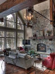 Mountain Style Formal Living Room Photo In Minneapolis With A Standard Fireplace And Stone