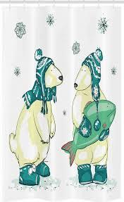 abakuhaus duschvorhang badezimmer deko set aus stoff mit haken breite 120 cm höhe 180 cm eisbär freunde fische weihnachten kaufen otto