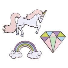Miage Cute Charm Enamel Animal Horse Unicorn Rainbow Cool Metal Brooch Jean Bag Button Badge Girl