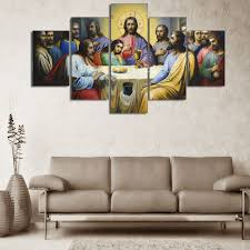 5 Piece Set Christian Jesus The Last Supper Canvas Painting Picture Room Decor Print