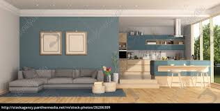 stock photo 26206309 blue living room with kitchen on