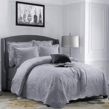 aspire homeware tagesdecke grau steppdecke bettüberwurf 3 flicken bestickt tagesdecke modern schlafzimmer deko atmungsaktive bettüberwurf 2