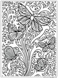 Butterflies And Flowers Coloring Pages For Adults Free Of Caterpillars Printable Butterfly