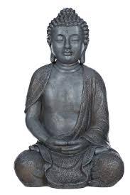 buddha nf13106 grau buddha figur xl44cm statue büste gartendeko aus kunststein
