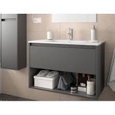 badmöbel set badezimmer möbel 80 cm hänge grau mit waschtisch