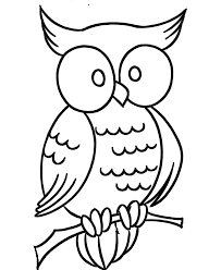 Owl With Big Eyes Coloring Picture For Kids
