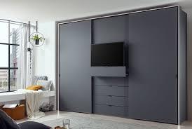 staud media multi kleiderschrank mit tv fach mattglas höhe 240 cm