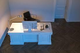 Wooden Interior Office With Parquet Flooring 3d Render Stock Photo