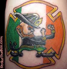 Fighting Irish With Leather Helmet Tattoo