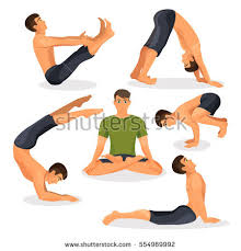 Collection Of Yoga Poses With Lotos Pose In Centre On White Bakasana Downward Facing