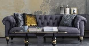 casa padrino luxus deco chesterfield wohnzimmer sofa dunkelgrau schwarz messingfarben 230 x 100 x h 82 cm luxus möbel