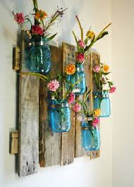 Anniversay Edition Blue Unique Large Wall Piece With Painted Mason Jars Decor Kitchen Bedroom