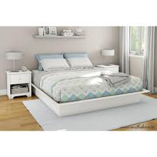 South Shore Step e King Size Platform Bed in Pure White