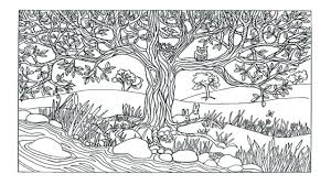 Printable Coloring Sheets Nature Pages Cat Adults Scene Tree River Page Full Size