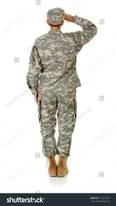 Soldier Rear View Of Female Saluting