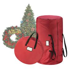 Tiny Tim Totes Premium Red Canvas Christmas Tree Storage Bag 30 Inch Wreath