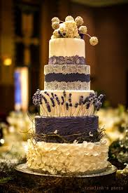 Rustic Purple Lavender Lace Wedding Cake