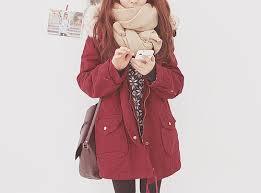Pretty Red Girl Cute Tumblr Fashion Model Asian Ulzzang Clothes Kfashion Korean Winter Uzzlang Jungle