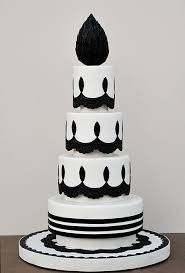 Black and White Chandelier Inspired Wedding Cake