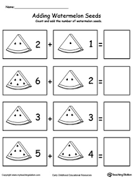 1 Page Worksheet Addition With Watermelon Seeds