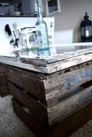 Enticing Use Wooden Crates As Body Then A Glass Coffee Table Ideas On How To