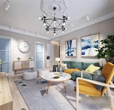 weißes wohnzimmer innenszene nordic style 3d modell max